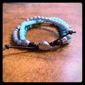 Fossil Turquoise and Leather Bracelet